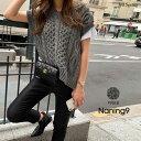 【ブロガー注目アイテム!】NANING9(ナンニング)フレンチスリーブニットベスト【9/6up_go】韓国 韓国ファッション V…