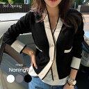 NANING9(ナンニング)ポイントカラーカーディガン【9/4up_go】韓国 韓国ファッション 配色デザイン カーディガン 秋…