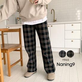 【SALE】NANING9(ナンニング)裏起毛チェックバンディングパンツ【12/9up_go】裏起毛パンツ チェック柄 パンツ 冬 ボトムス 韓国パンツ 【あす楽】