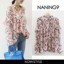 NANING9(ナンニング)ギャザー花柄ブラウス【3/15up_go】【送料無料】韓国 韓国ファッション トップス ブラウス フリ…
