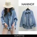 NANING9(ナンニング)ルーズフィットデニムシャツ【3/29up_go】韓国 韓国ファッション トップス シャツ デニム デニム…