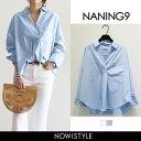 NANING9(ナンニング)胸ポケットVネックブラウス【4/24up_go】【メール便120円】韓国 韓国ファッション トップス シャ…