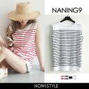 NANING9(ナンニング)ノースリーブボーダーT【6/22up_go】【メール便120円】韓国 韓国ファッション Tシャツ ボーダー …