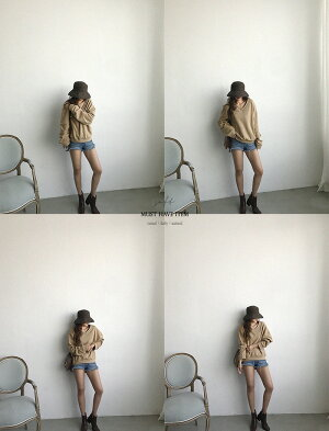 NANING9(ナンニング)Vネックトレーナー【9/21up_go】韓国韓国ファッショントレーナーVネックトップススウェットスエットルーズフィット大人カジュアル秋ナンニングレディース【5】