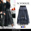 N.Vogue(エヌヴォーグ)ギンガムチェックボリュームスカート【3/14up_mo】韓国 韓国ファッション ボトムス スカート …