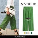 N.Vogue(エヌヴォーグ)ワイドリネンパンツ【5/23up_mo】【送料無料】韓国 韓国ファッション パンツ リネン ワイドパ…