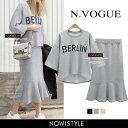 N.Vogue(エヌヴォーグ)BERLINスカートセットアップ【3/24up_mo】韓国 韓国ファッション トップス Tシャツ カットソー トレーナー ロゴ プ...