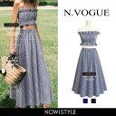 N.Vogue(エヌヴォーグ)ギンガムチェックセットアップ【6/13up_mo】韓国 韓国ファッション セットアップ フレアスカー…