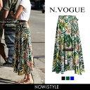 N.Vogue(エヌヴォーグ)フラワーフレアスカート【7/5up_mo】韓国 韓国ファッション スカート ロング丈 フレア フレア…