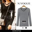 N.Vogue(エヌヴォーグ)リングポイントリブT【9/25up_mo】【メール便120円】韓国 韓国ファッション カットソー リブ編…