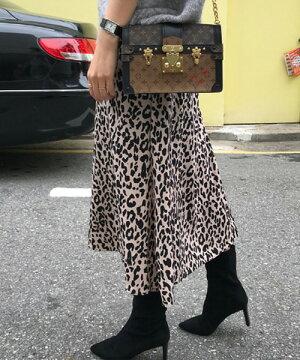 N.Vogue(エヌヴォーグ)レオパード柄Aラインスカート【10/2up_mo】【送料無料】韓国韓国ファッションAラインスカートレオパード柄スカートヒョウ柄ボトムスレオパードロングスカート秋トレンド大人カジュアルカジュアルレディースファッション【7】