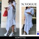 N.Vogue(エヌヴォーグ)アシンメトリーカットロングワンピース【3/13up_mo】【送料無料】韓国 韓国ファッション ロン…