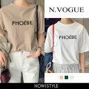 N.Vogue(エヌヴォーグ)PHOEBE半袖Tシャツ【2/26up_mo】【メール便】韓国 韓国ファッション ロゴT 半袖 Tシャツ ロゴ …