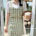 SONYUNARA(ソニョナラ)キウイビスチェSET【5/26up_wo】韓国 韓国ファッション セットアップ キャミソール カジュア…
