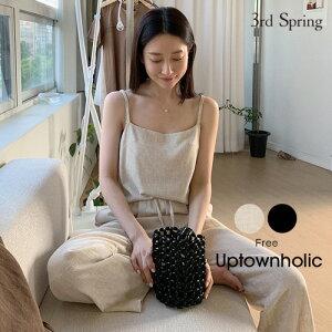 UPTOWNHOLIC(アップタウンホリック)リネンセットアップ【6/9up_go】韓国 韓国ファッション セットアップ キャミソール セットアップ リネン ワイドパンツ ルームウェア ワンマイルウェ