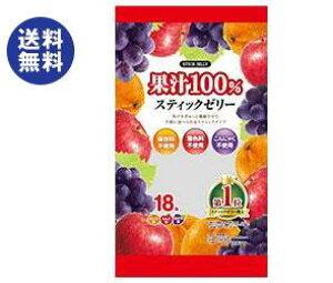 【送料無料】【2ケースセット】リボン 18本果汁100% スティックゼリー 18本×12袋入×(2ケース) ※北海道・沖縄は別途送料が必要。