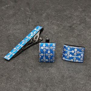 着物職人手作り ネクタイピン・カフスボタンセット/青色箔に変り小紋・銀ダイヤ箔使用