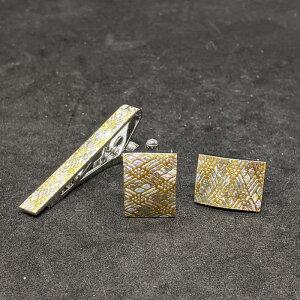 着物職人手作り ネクタイピン・カフスボタンセット/本金箔に武田菱小紋・銀ダイヤ箔使用