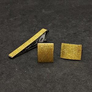 着物職人手作り ネクタイピン・カフスボタンセット/金箔に武田菱小紋・本金箔使用
