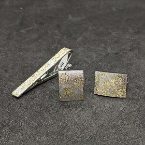 着物職人手作り ネクタイピン・カフスボタンセット/本銀箔に菊小紋・本金箔使用