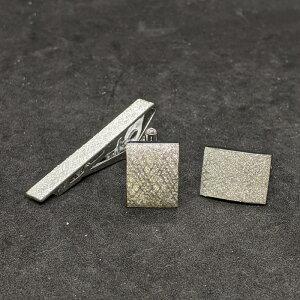 着物職人手作り ネクタイピン・カフスボタンセット/本銀箔に武田菱小紋・銀ダイヤ箔使用