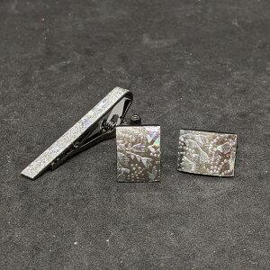 着物職人手作り ネクタイピン・カフスボタンセット/本銀箔に更紗小紋・銀ダイヤ箔使用