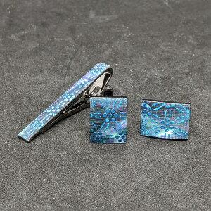 着物職人手作り ネクタイピン・カフスボタンセット/本あわび黒螺鈿・梅七宝小紋・水色ダイヤ箔使用