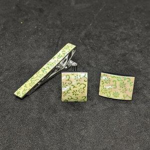 着物職人手作り ネクタイピン・カフスボタンセット/本あわび白螺鈿・菊唐草小紋・黄緑ダイヤ箔使用