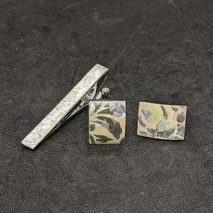 着物職人手作り ネクタイピン・カフスボタンセット/本あわび白螺鈿・更紗小紋・銀ダイヤ箔使用