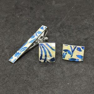 着物職人手作り ネクタイピン・カフスボタンセット/本あわび白螺鈿・更紗小紋・青ダイヤ箔使用