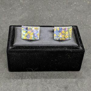 着物職人手作り カフスボタン/本あわび黒螺鈿・更紗小紋・本金箔使用