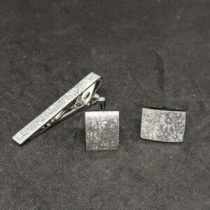 着物職人手作り ネクタイピン・カフスボタンセット/本銀箔に菊小紋・銀ダイヤ箔使用
