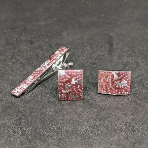 着物職人手作り ネクタイピン・カフスボタンセット/薔薇色箔に鮫更紗小紋・銀ダイヤ箔使用