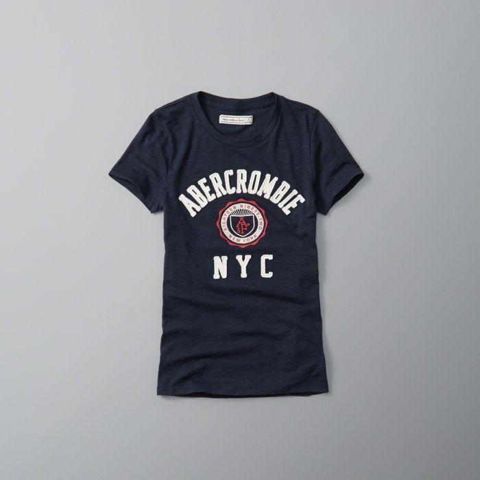 ◆【送料無料】【新品】アバクロ【Womens】ロゴ刺繍Tシャツ/Navy【Logo Graphic Tee】【Abercrombie&Fitch】【本物保証】【レディース】
