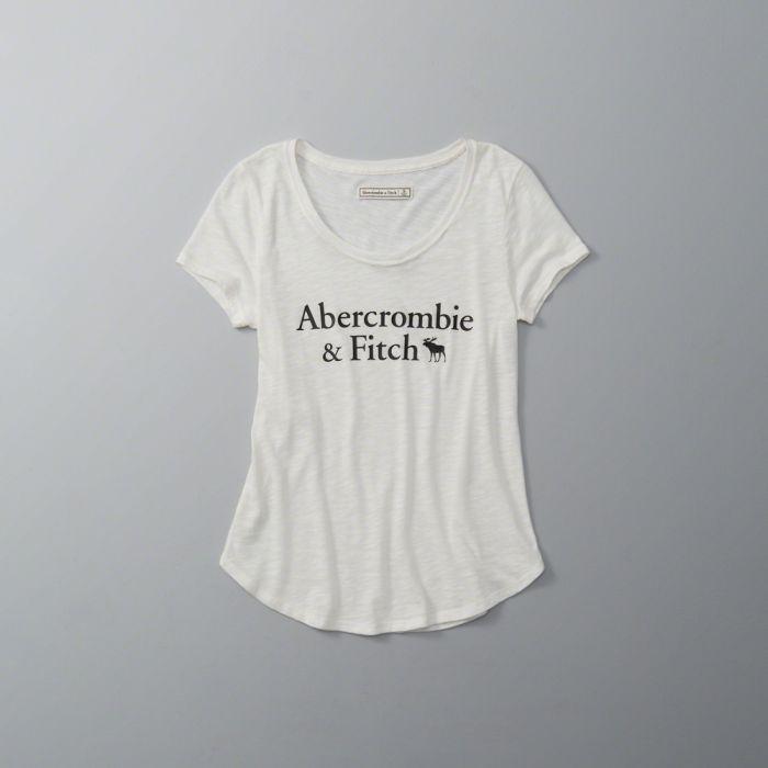 【送料無料】【新品】アバクロ【Womens】ロゴグラフィックTシャツ/Off White【Logo Graphic Tee】【Abercrombie&Fitch】【本物保証】【レディース】