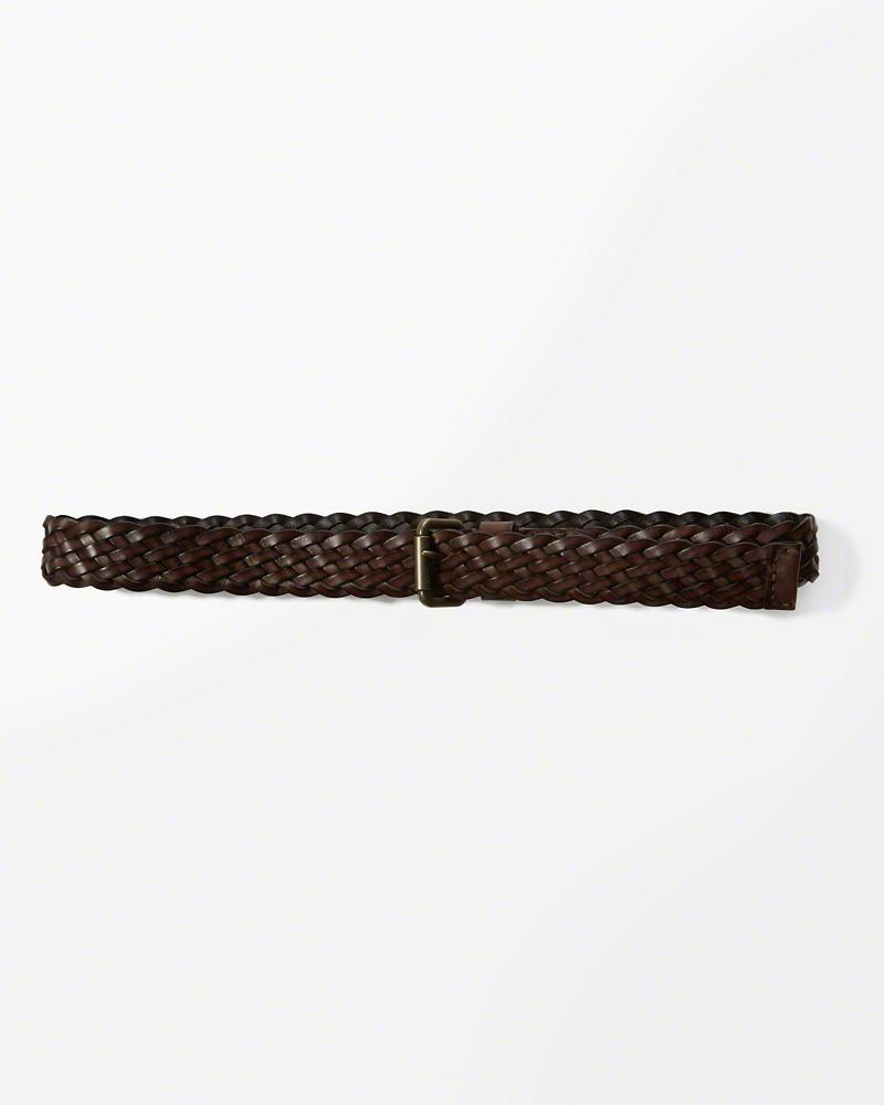 ◆【送料無料】【新品】アバクロ【Mensメンズ】レザーメッシュベルト/Brown【Braided Leather Belt】【Abercrombie&Fitch】【本物保証】