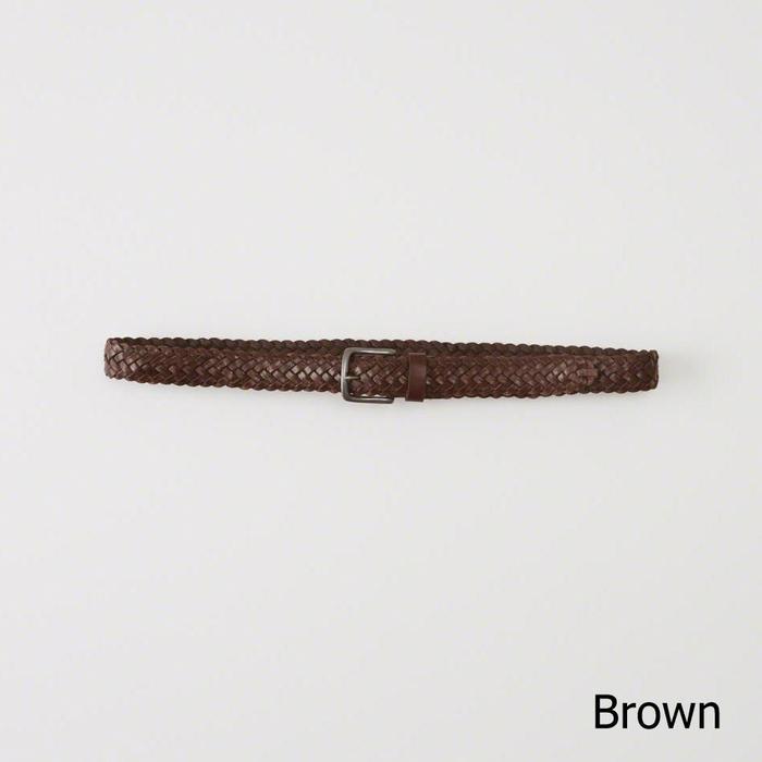 【送料無料】【新品】アバクロ【Mensメンズ】レザーメッシュベルト/Brown【Woven Leather Belt】【Abercrombie&Fitch】【本物保証】