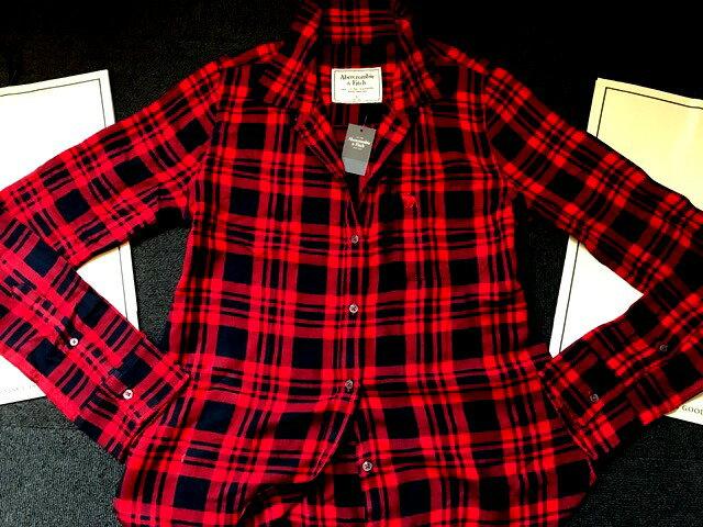 ◆【送料無料】【新品】アバクロ【Womens】カジュアルチェックシャツ(長袖)/Red Plaid【Abercrombie&Fitch】【本物保証】【レディース】