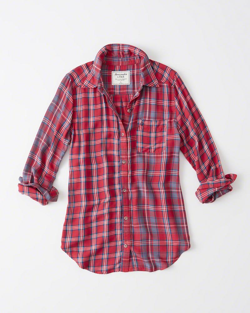 【送料無料】【新品】アバクロ【Womens】カジュアルチェックシャツ(長袖)/Red Plaid【Plaid Mix Shirt】【Abercrombie&Fitch】【本物保証】【レディース】