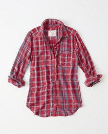 Abercrombie&Fitch (アバクロンビー&フィッチ) 正規品 カジュアルチェックシャツ (長袖) (Plaid Mix Shirt) レディース (Red Plaid) 新品