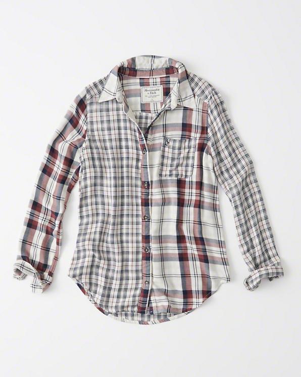 【送料無料】【新品】アバクロ【Womens】カジュアルチェックシャツ(長袖)/White Plaid【Plaid Mix Shirt】【Abercrombie&Fitch】【本物保証】【レディース】