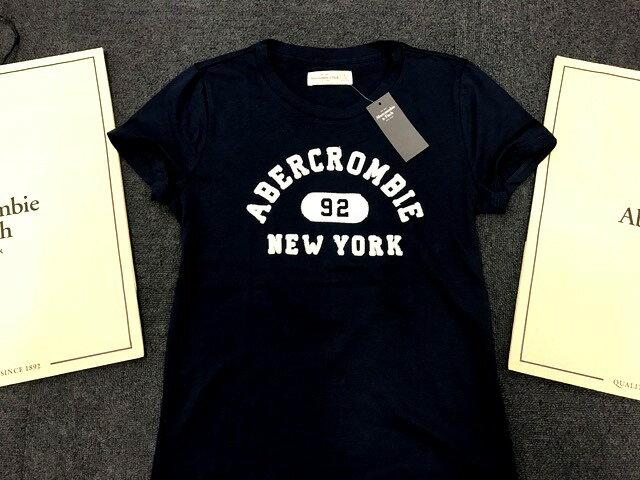 【送料無料】【新品】アバクロ【Womens】ロゴアップリケTシャツ/Navy【Applique Logo Tee】【Abercrombie&Fitch】【本物保証】【レディース】