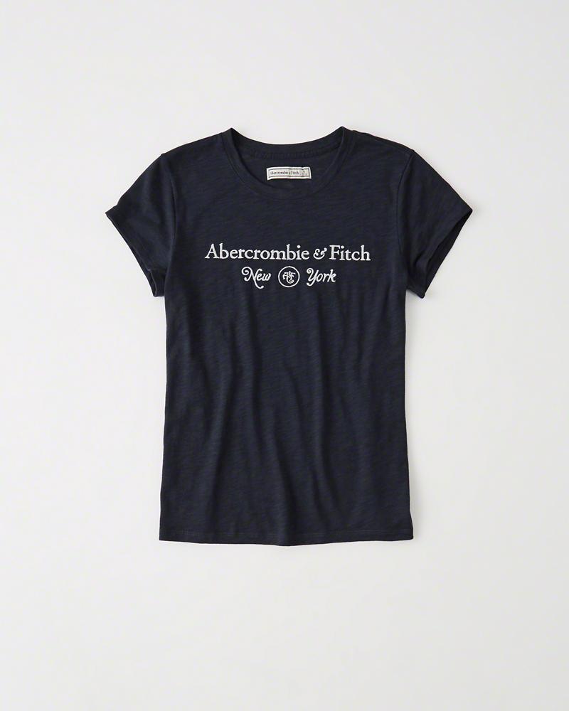 【送料無料】【新品】アバクロ【Womens】ロゴ刺繍Tシャツ/Navy【Graphic Slub Tee】【Abercrombie&Fitch】【本物保証】【レディース】