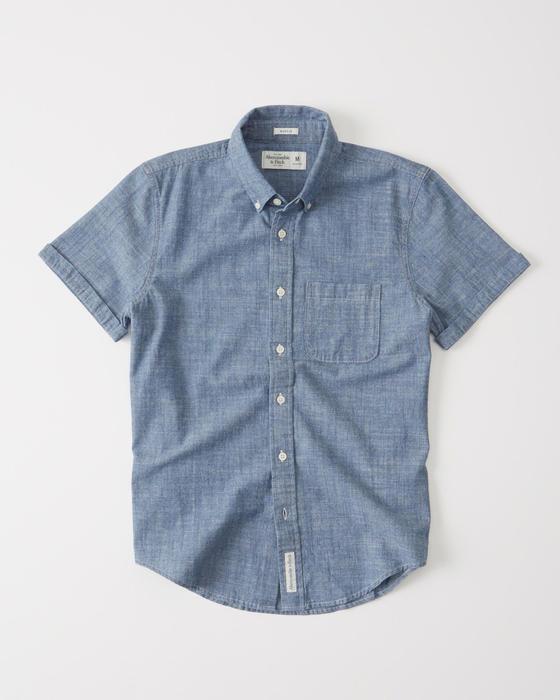 【送料無料】【新品】アバクロ【Mensメンズ】半袖シャンブレーシャツ/Chambley【Short Sleeve Poplin Shirt】【Abercrombie&Fitch】【本物保証】