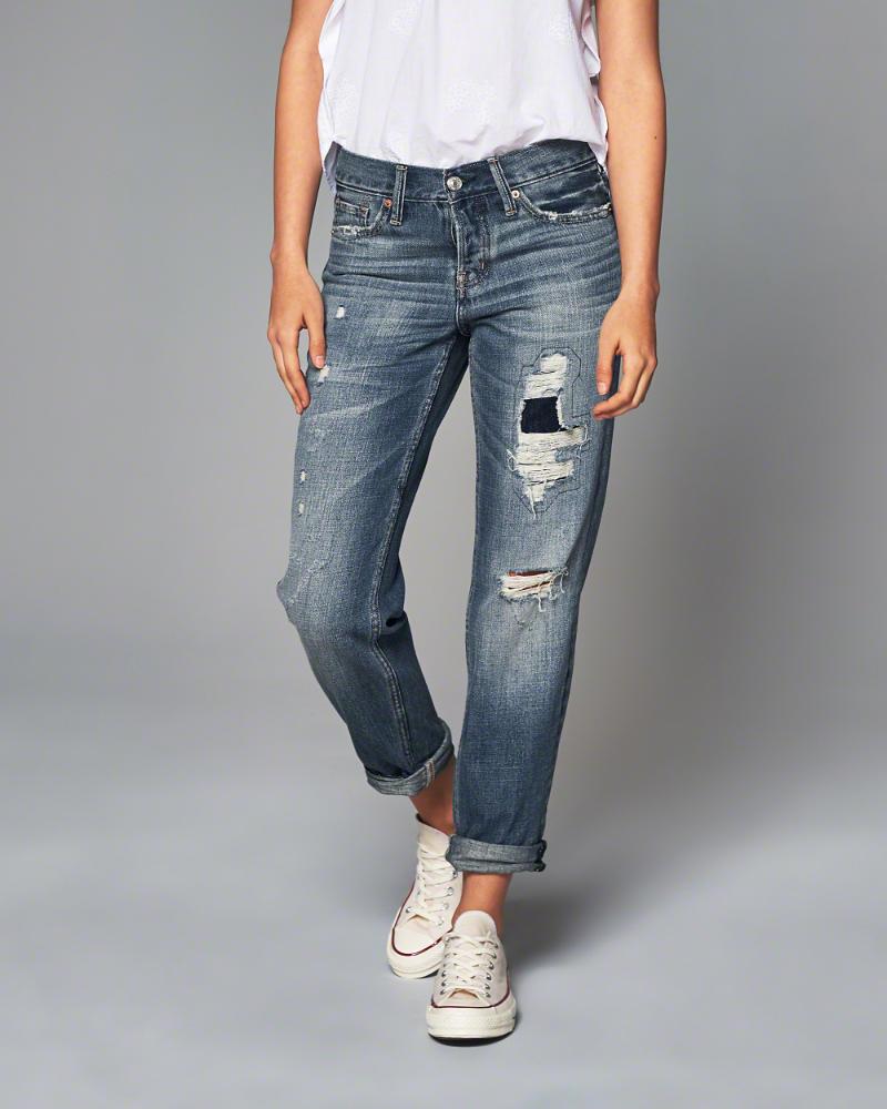 ◆【送料無料】【新品】アバクロ【Womens】/Destroyed Medium Wash【Boyfriend Jeans】【Color:279】【Abercrombie&Fitch】【本物保証】【レディース】