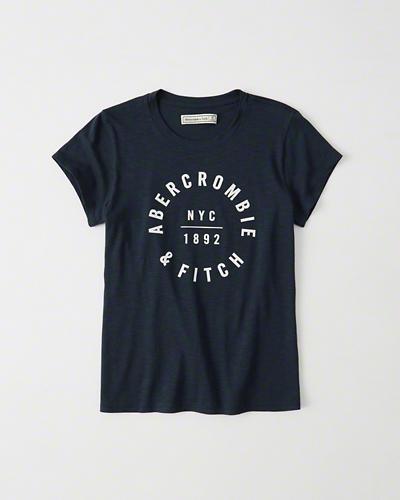 【送料無料】【新品】アバクロ【Womens】プリントTシャツ/Navy【Circle Logo Tee】【Abercrombie&Fitch】【本物保証】【レディース】
