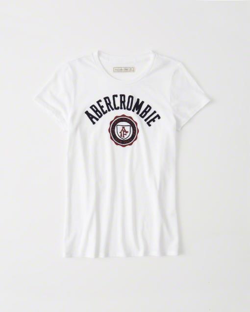 ◆【送料無料】【新品】アバクロ【Womens】アップリケTシャツ/White【Logo Graphic Tee】【Abercrombie&Fitch】【本物保証】【レディース】