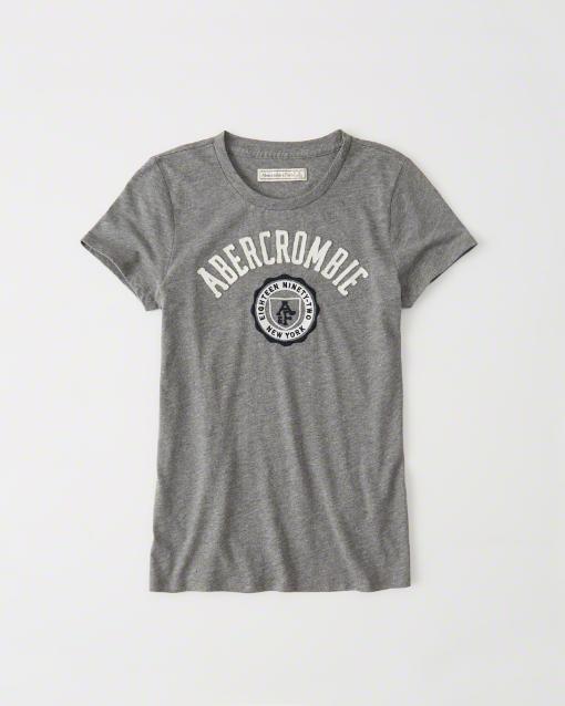 【送料無料】【新品】アバクロ【Womens】アップリケTシャツ/Heather Grey【Logo Graphic Tee】【Abercrombie&Fitch】【本物保証】【レディース】