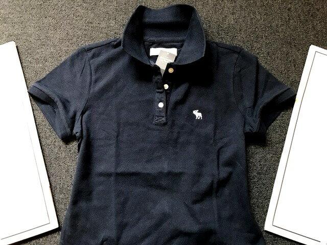 【送料無料】【新品】アバクロ【Womens】鹿子ポロシャツ(半袖)/Navy【Icon Polo】【Abercrombie&Fitch】【本物保証】【レディース】