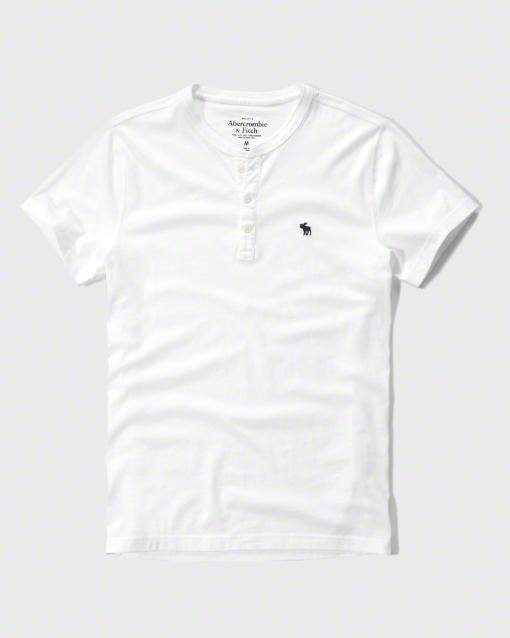 【送料無料】【新品】アバクロ【Mensメンズ】ヘンリーネックTシャツ(半袖)/White【Icon Short-Sleeve Henley】【Abercrombie&Fitch】【本物保証】
